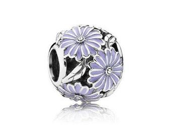 Authentic Pandora Enamel Purple DAISY MEADOW Charm Bead