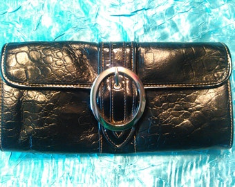 Vintage Tooled MC Black Genuine Leather Clutch Bag Purse Evening Bag Handbag by Marc Chantal