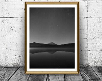 Mountain Lake Print, Lake at Night Photo, Nature at Night Poster, Water Sky and Mount at Night, Mountain Reflect, Minimal Print