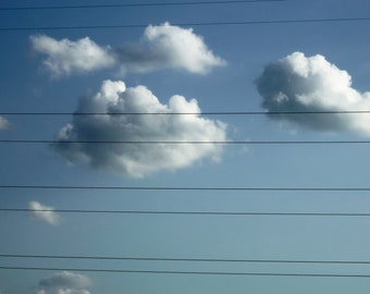 Clouds Behind Bars Still Life Photograph Sky Cloudscape Power Lines Restraint Photo Caged Captive Suburbia Image
