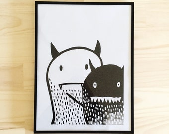 Little Monster & Friend Print