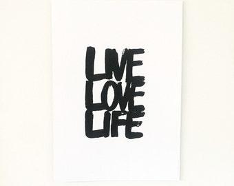 Live Love Life Typography Print
