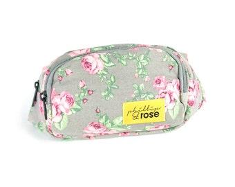 Vintage Style Grey & Pink Floral Rose Flower Fanny Pack