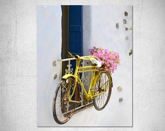 bicycle photography Greece photography Travel photography Greek island village Yellow bike Pink flower Nursery decor Teens room decor