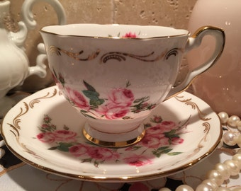 """Royal Stafford Tea Cup and Saucer Hand Painted in """"Bridesmaid"""" c. 1950"""