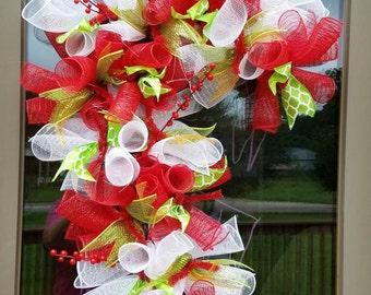 Christmas Candy Cane Deco Mesh Door Wreath