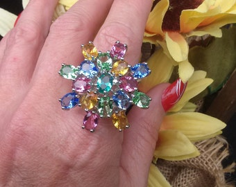 Oval Cut Multi Gemstone Cluster Ring, Sterling Silver, Size 7