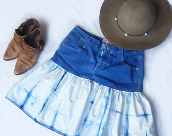 Shibori dyed jean skirt- upcycled jeans and vintage cotton fabric -royal blue - FREE SHIPPING