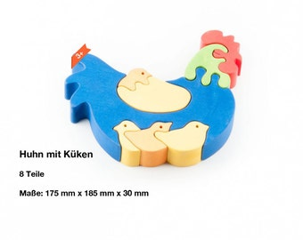 Wooden puzzle chicken with chicks