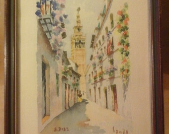 Watercolor, Street Scene, Sevilla, España  Original, Signed