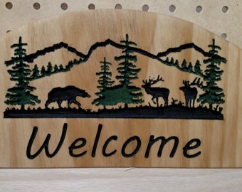 Small Bear and Elk Welcome Sign