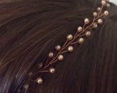Rose gold bridal headband, pearl hair piece, mother of the bride hair, rose hair piece, bridal hair band, formal hair piece, rose head piece