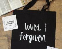 Loved.Forgiven. Black Tote Bag