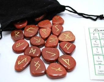 Goldstone Elder Futhark Gemstone Rune Set
