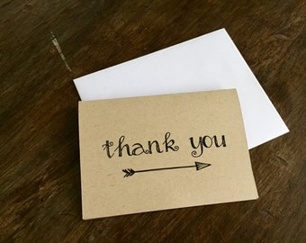 Thank You Cards, Blank Note Cards, Folding Cards, Rustic, Boho, Arrows, Kraft Paper