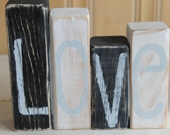 Word Block. Wood Block. Love. Home Decor. Rustic.