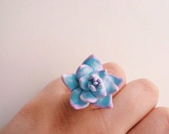 Cute Succulent plant, statement ring, succulent garden  || flower jewlery