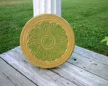 Celtic Flower Stepping Stone Yellow Medallion Concrete Garden Art