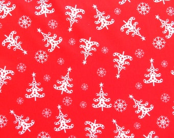 Red Christmas fabric - Christmas tree material - Polycotton fabric - Quilting fabric - Fabric UK - Christmas tree fabric - snowflake fabric