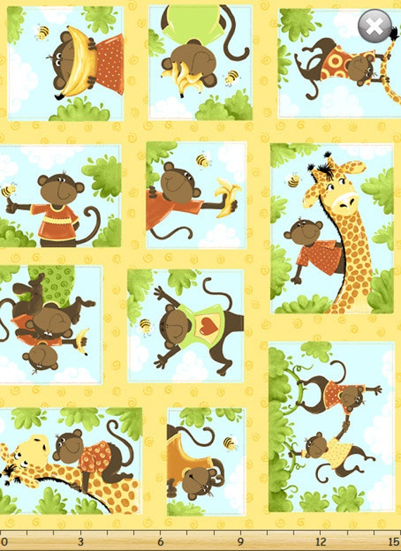Monkey fabric giraffe fabric nursery fabric quilt panel for Nursery monkey fabric