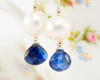 Sterling silver sapphire teardrop and white pearl earrings