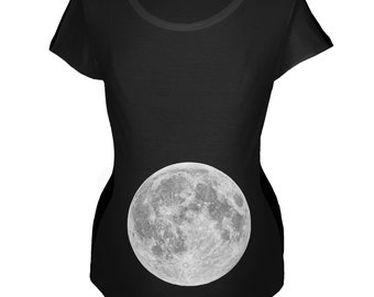 Earth's Moon Belly Black Maternity Soft T-Shirt