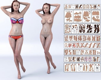 Download print on A4 6 Parts / Bikini and Nude female girl papercraft contemporary art museum