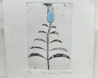 Original etching print ''tulipano''
