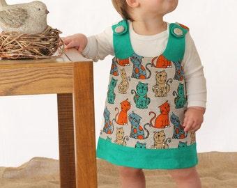 Linen girl dress - Baby girl dress - Light green dress - Little girl cat  dress - Toddler girl dress - Linen girl sarafan dress - 2014V-014