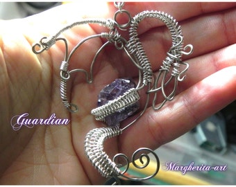 Guardian, Dragon, pendant, Amethyst, raw amethyst, amethyst dragon, wire dragon, guardian dragon, handmade, nickel silver, italian handmade