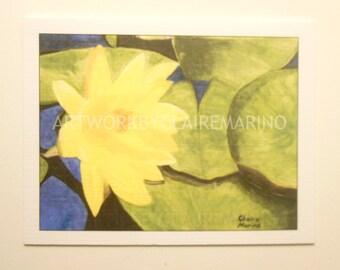 Yellow Lotus Flower Notecard/Greeting Card