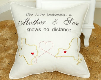 Long Distance Mother Son Love Pillow Cases Family Love Pillow CoverEmbroidered Map Pillowcover & Love pillow   Etsy pillowsntoast.com