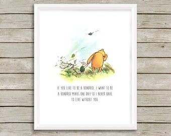 Classic Winnie the Pooh Nursery Art, Winnie the Pooh Quote, Winnie the Pooh Baby Shower Gift, Nursery Art, Boy or Girl Art, Instant Download