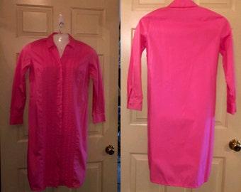Vtg 70s 80s Lady Van Huesen Shirt Dress Pink sz 12