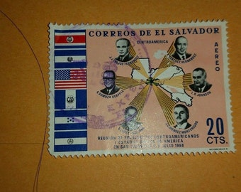 Vintage Used El Savador Postage Stamp