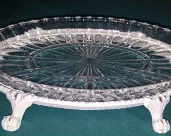 Crystal and brass, crystal footed, crystal and brass footed tray