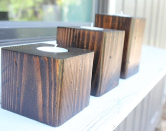 Wooden Candle Holders - Tiered Set of 3