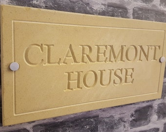 Natural Cotswold stone house sign 400mm x 200mm