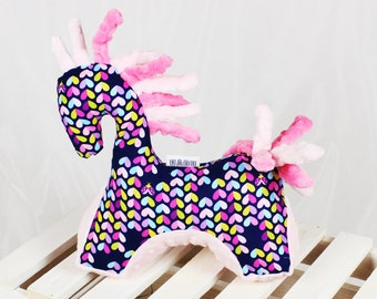 Baby shower gift Sensory Infant toy Horse Navy Pink - Nuva Handmade Soft Mascot for Baby Teething Grasping Cuddly Plush Newborn Toy