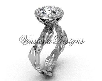14kt white gold diamond leaf and vine engagement ring VF301002