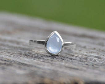 Blue Ice Blue Chalcedony Stackable Ring   Blue Chalcedony Ring   Chalcedony Stackable Ring   Silver Ring   Stackable Ring   Chalcedony