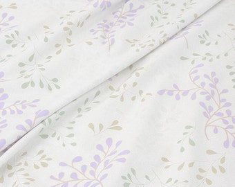 Purple Green Leaf Cotton Fabric Bed Sheet Fabrics JJ376