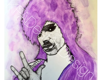 Purple Rain Prince- dotted watercolor 8x10 print ( cardstock)