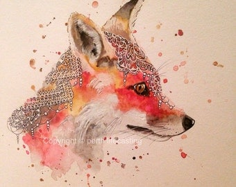 Original Boho Fox Watercolour