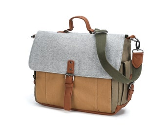 Tri-Color Canvas and Wool Messenger Bag in Grey/Olive/Brown (SS604)