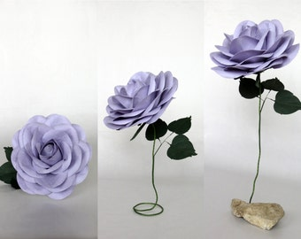 Giant Paper Flower with Flexible Stem - Lilac Oversized Paper Rose