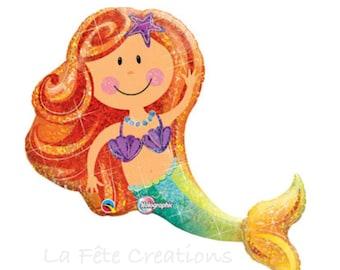 """Mermaid Balloon Large 38"""" Mylar Balloon Under the Sea The Little Mermaid Ariel Holographic Balloon"""