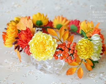 Flower crown Autumn crown Wedding crown Bohemian crown Woodland crown Chrysanthemum Autumn accessories Boho Photo props Wedding flower crown