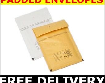 600 pcs. Size A 100x165 mm  PADDED  BUBBLE ENVELOPES  **Free Delivery** enveloppes à bulles, sobres de la burbuja, bubbel kuvert ,