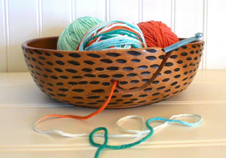 Knitting Bowls Wood : Yarn bowl wooden for knitting and crocheting gift